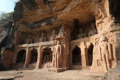 Jain Tirthankaras (religious teachers) carved in the rock near Gwalior Fort, Madyha Pradesh