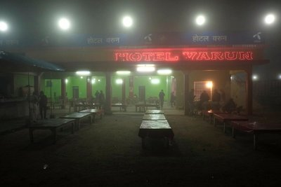 Night bus to Lucknow in the fog