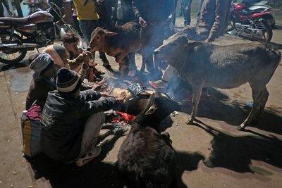 Everyone enjoying the warmth of the fire, Khajuraho, Madyha Pradesh