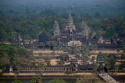 View of the main temple at Angkor Wat and surrounding jungle