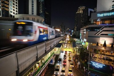 Skytrain at night, Bangkok, Thailand