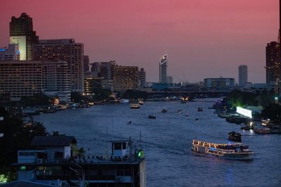 View of Chao Praya River from River View Guest House, Bangkok, Thailand