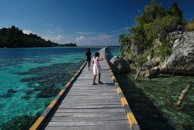 Bridge to school, Bajo village Malenge island, Togian