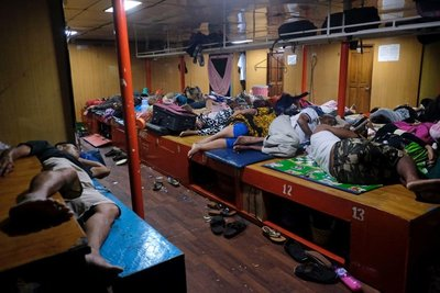 People sleeping outside our cabin on the ferry