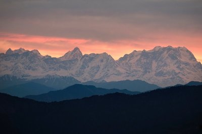 View of Himalayas from Kunjapuri Temple at sunrise