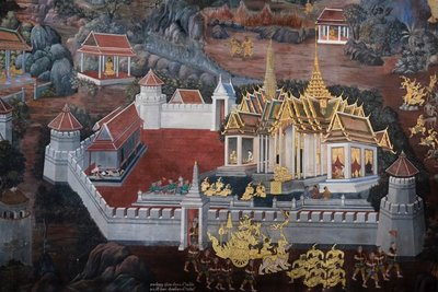 Wall paintings at Wat Phra Kaeo, Bangkok, Thailand