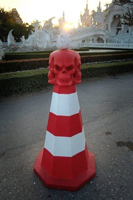 Do not mess with this traffic cone, Chiang Rai, Thailand