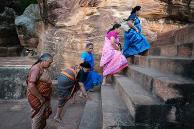 Ladies visiting the cave temples at Badami