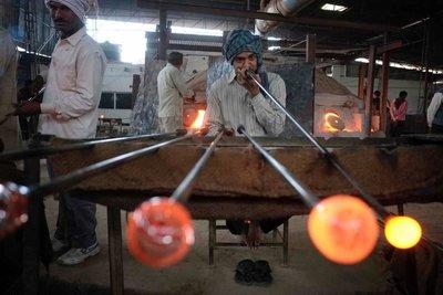 Glass blowing, Firozabad, Uttar Pradesh