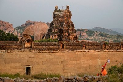 Temple at sunset point, Hampi