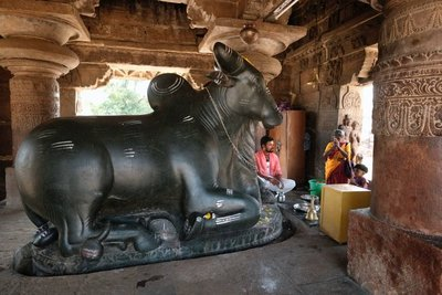 Nandi bull in temple at Pattadakal