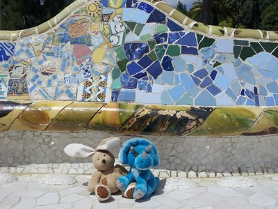 Resting before seeing the rest of Gaudi's Parc Guell