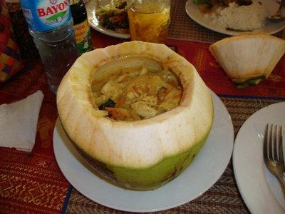 Fish amok in a hollowed out coconut.