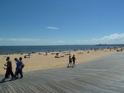 St. Kilda Beach and boardwalk.