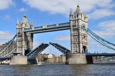 Tower bridge raised.