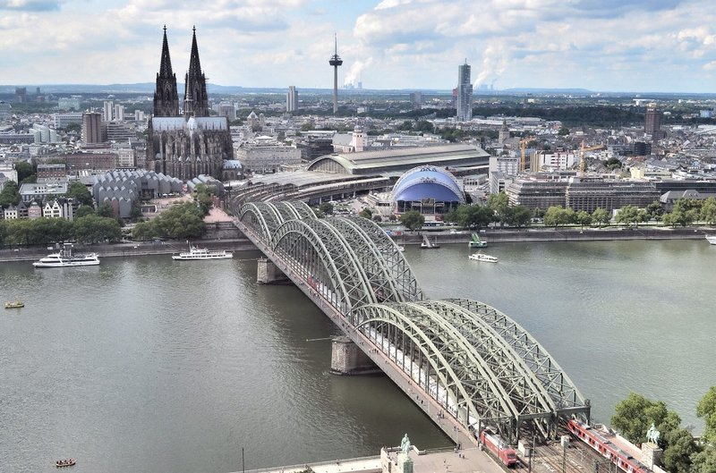 Hohenzollern bridge.  View from Koln triangle.