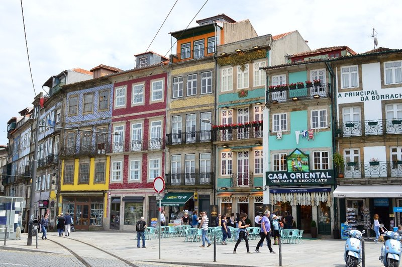Colourful street in Porto.