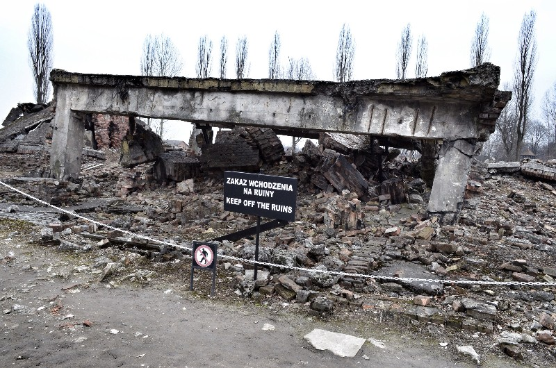Nazis demolished some of the camp buildings.