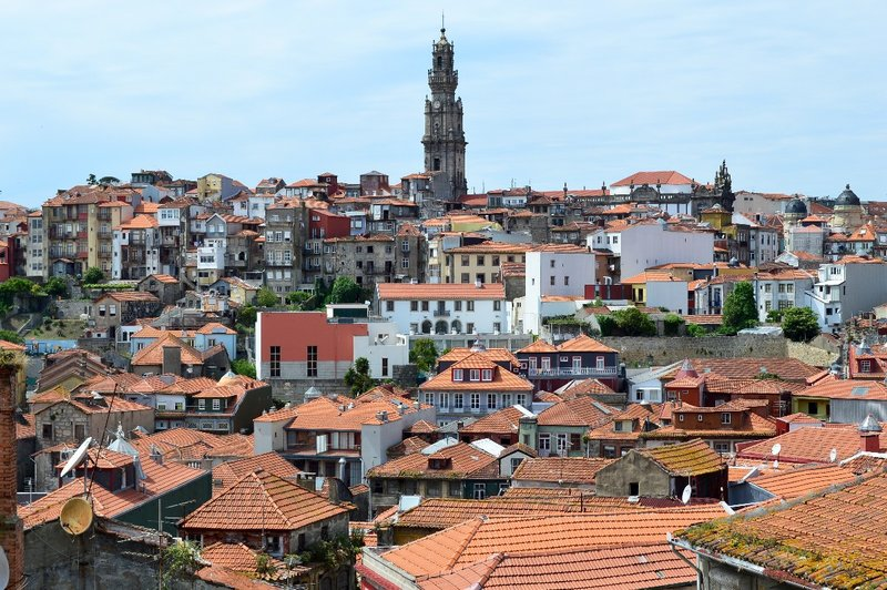 Porto rooftops & Clerigos tower in distance.