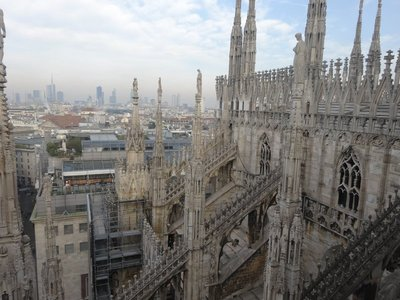 Extraordinary view from top of Milan Duomo