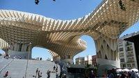Wooden structure under which is the Antiquarium, plaza de Encarnacion