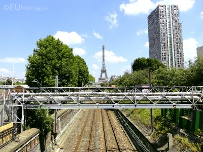 Train Line View Of The Eiffel Tower