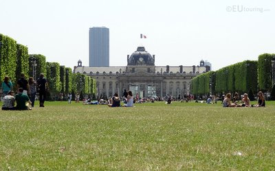 People relaxing on the Champ de Mars