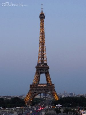 The start of night at the Eiffel Tower