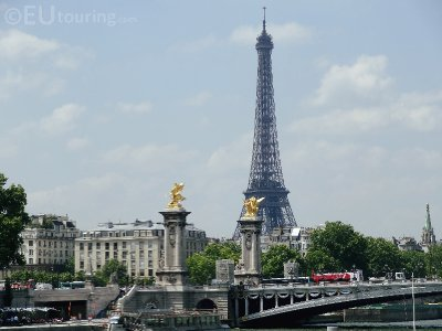 View of the Eiffel Tower and Pont Alexandre III from the River Seine