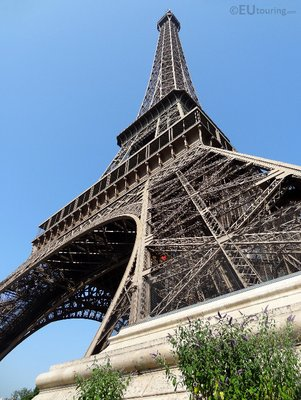 View up the Eiffel Tower