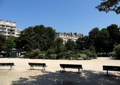 Seating within the Champs Elysees Gardens