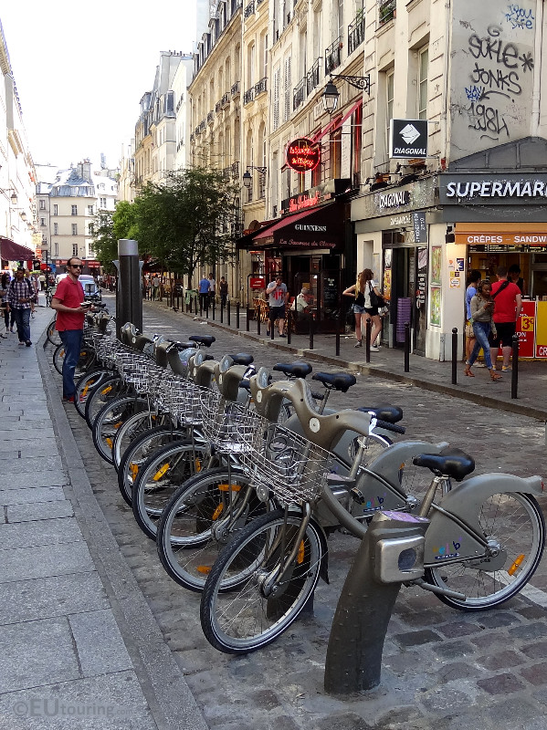 Velib beside shops