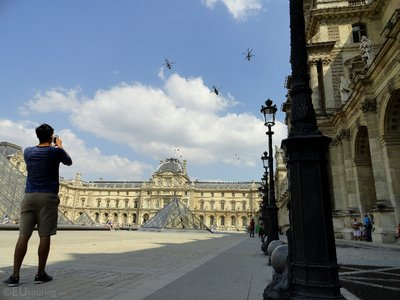 Helicopters over the Louvre