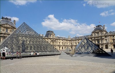 Multiple Pyramids beside the Louvre Museum