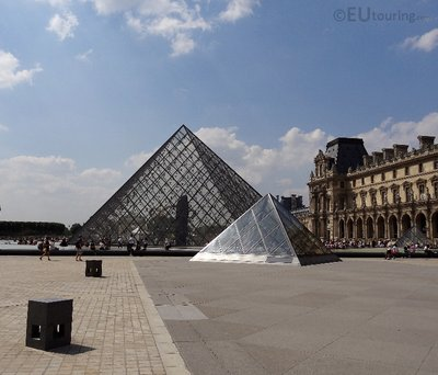I M Pei pyramid and courtyard