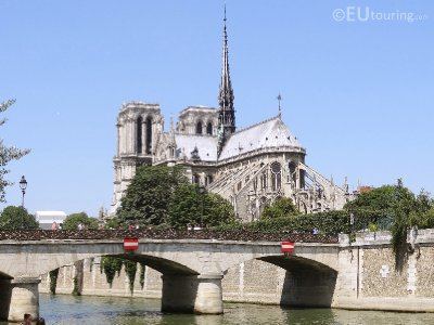 Notre Dame and Island from the bank of the River Seine