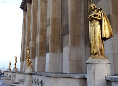 Four golden statues at Palais Chaillot