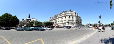 Panoramic from behind Notre Dame Cathedral