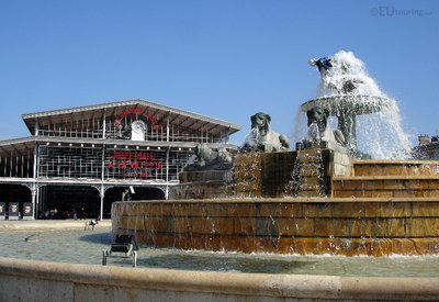 Fountain in front of La Grande Halle