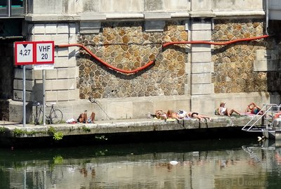 Sunbathers at Canal Saint-Martin