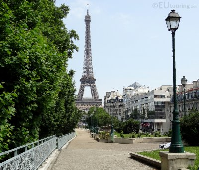Lamp posts leading to the Eiffel Tower