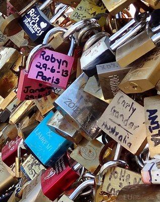 Different locks on the Bridge of Love