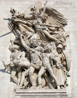 Statue on the outside of the Arc de Triomphe