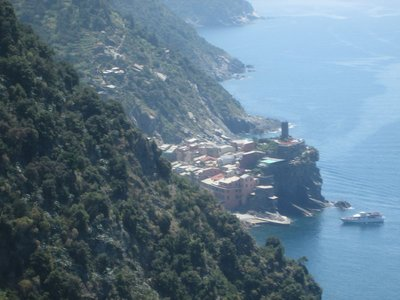 View of Vernazza from the hiking path