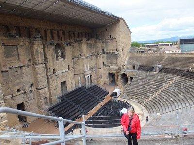 Roman theatre in Orange, Margaret in a giggle.