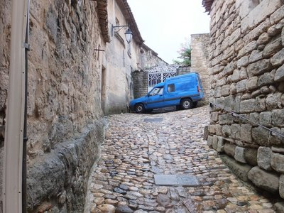 Walking up to the Chateau in Lacoste, cobbled, slope up & down!