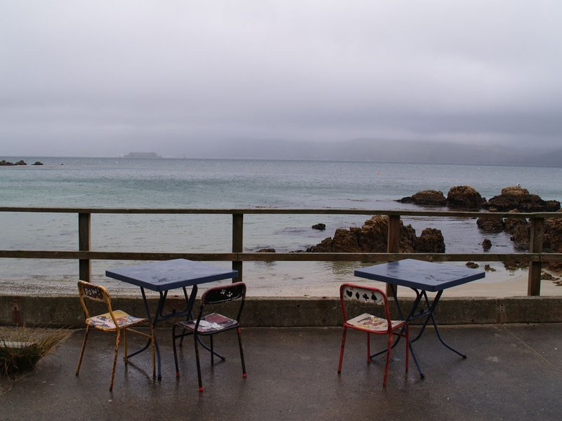 Wellington - LOTR tour - Chocolate Fish Cafe's outdoor seating ... not today, I think.