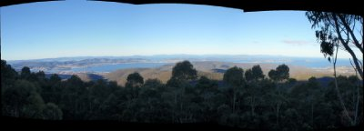 View from the springs carpark lookout on Mt Wellington