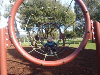 Sonia enjoying the Geeveston playground