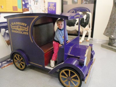 Sonia enjoying the Cadbury delivery truck!